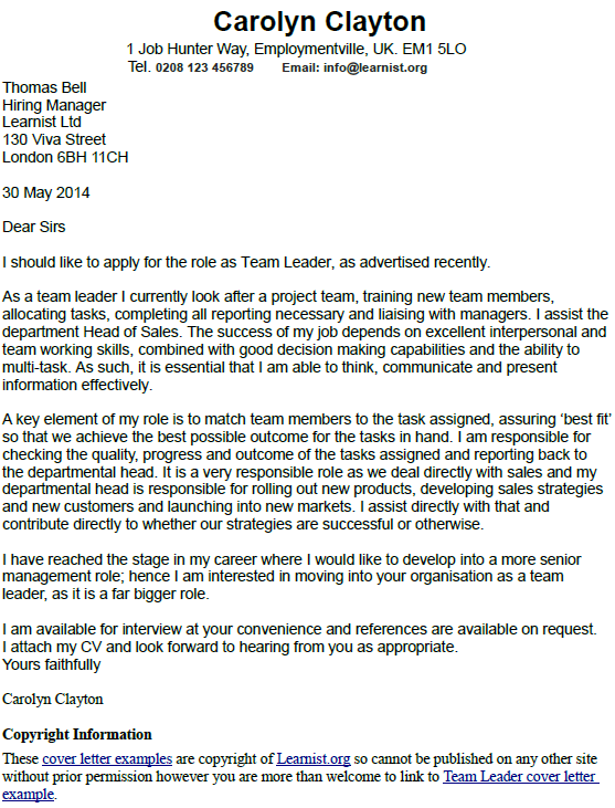 Team Leader Cover Letter Example