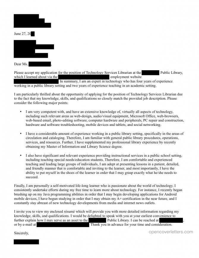 Technology Services Librarian Cover Letter