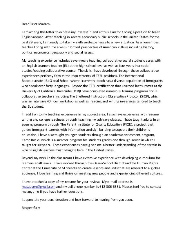 Tefl Cover Letter