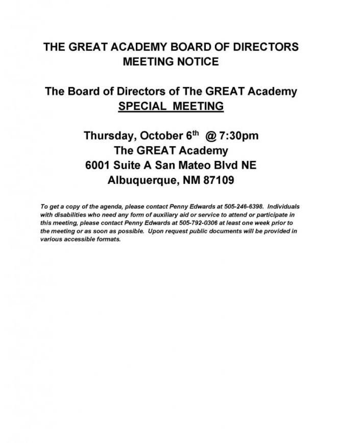 Tga Board Of Directors Special Meeting Notice   The