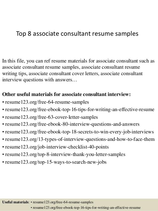 Top  Associate Consultant Resume Samples