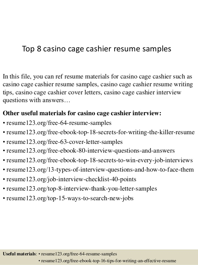 Top  Casino Cage Cashier Resume Samples