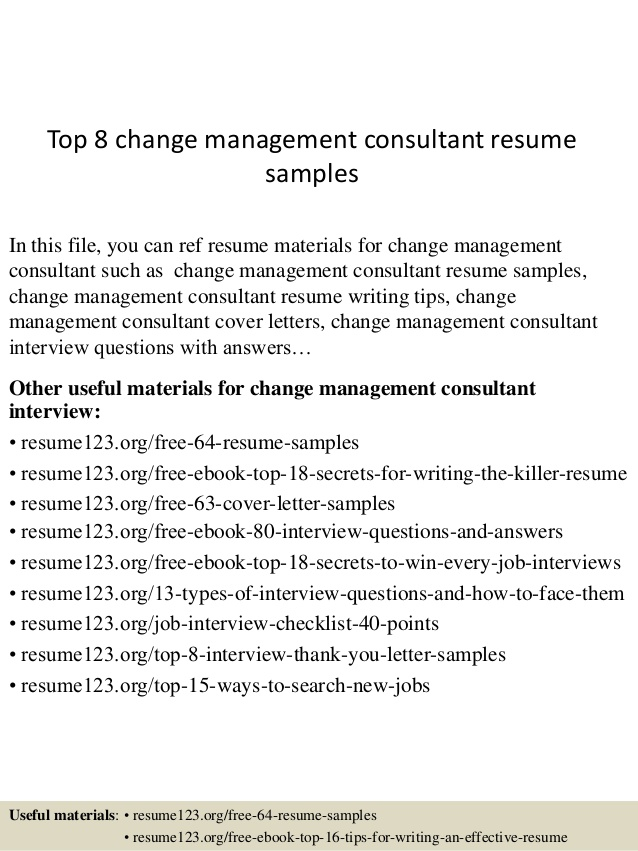 Top  Change Management Consultant Resume Samples