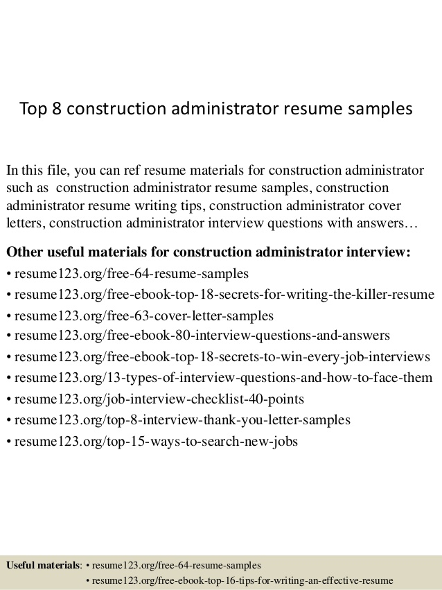Top  Construction Administrator Resume Samples