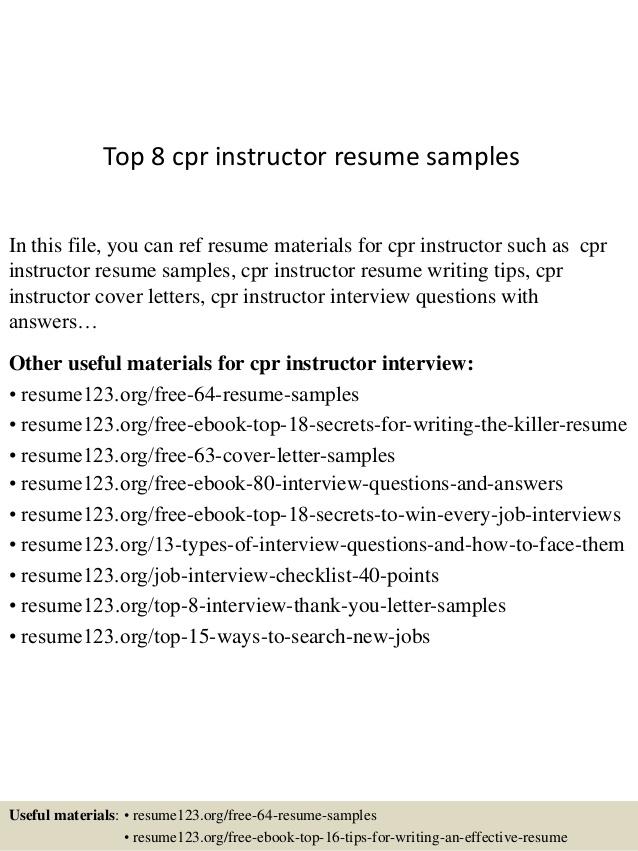 Top  Cpr Instructor Resume Samples
