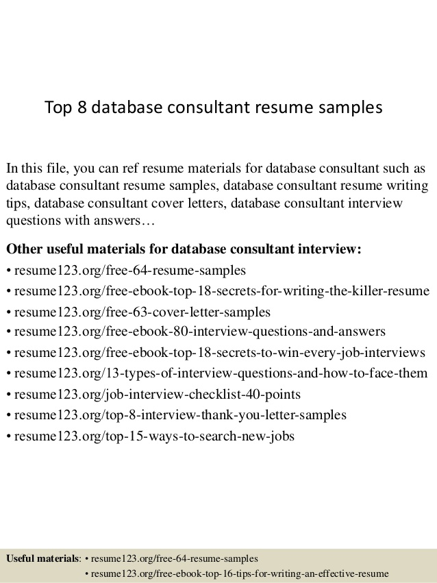 Top  Database Consultant Resume Samples