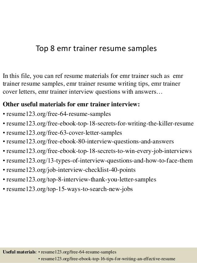 Top  Emr Trainer Resume Samples