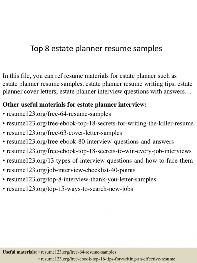 Top  Estate Planner Resume Samples