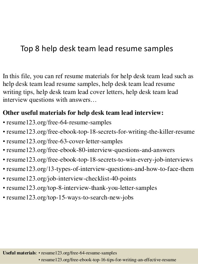 Top  Help Desk Team Lead Resume Samples