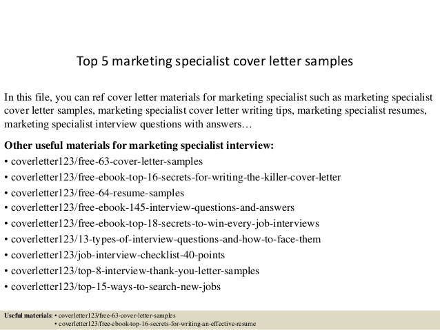 Top  Marketing Specialist Cover Letter Samples