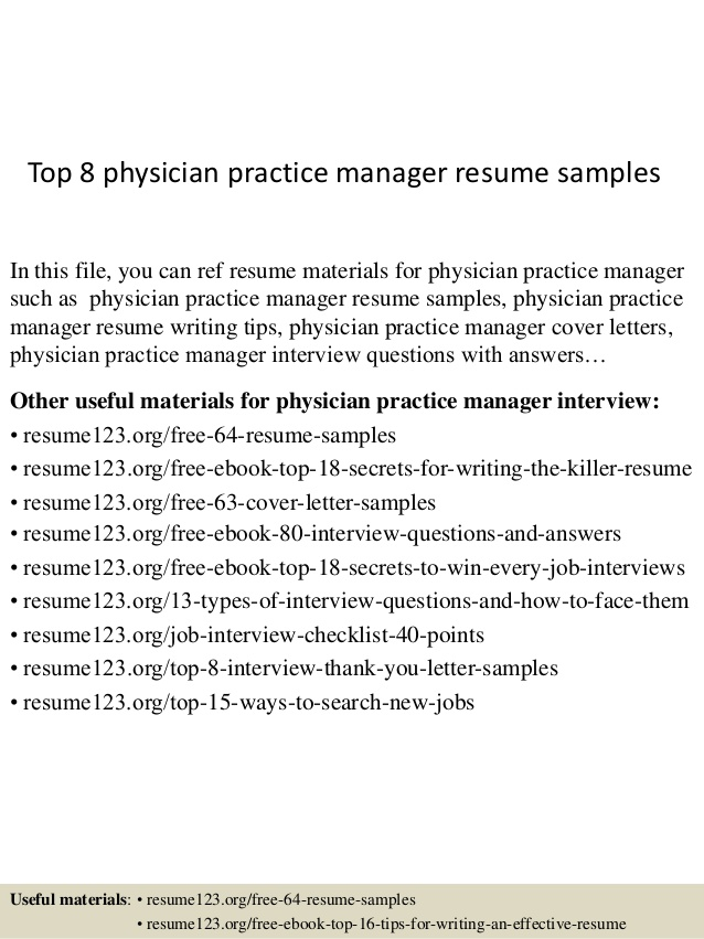 Top  Physician Practice Manager Resume Samples