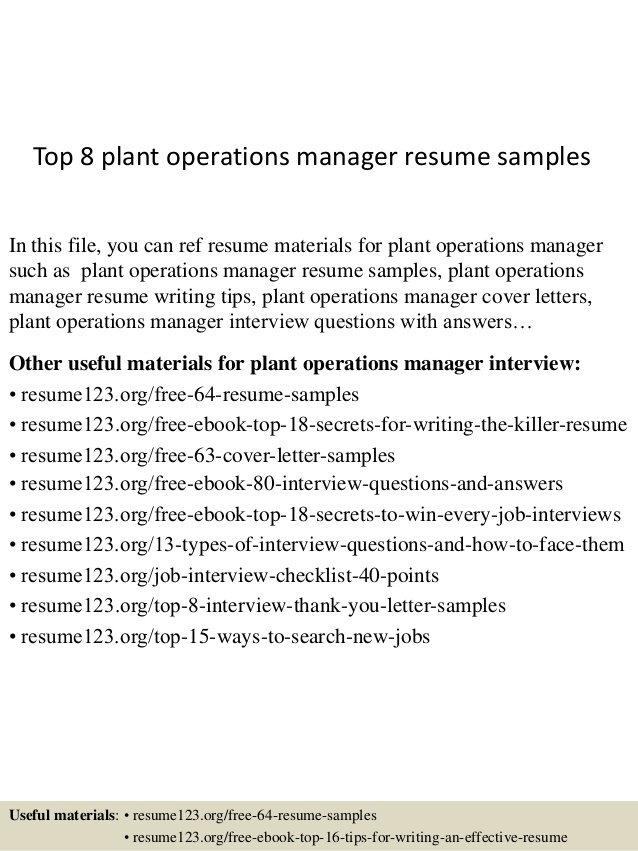 Top  Plant Operations Manager Resume Samples