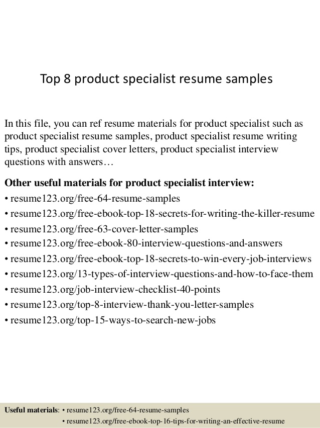 Top  Product Specialist Resume Samples