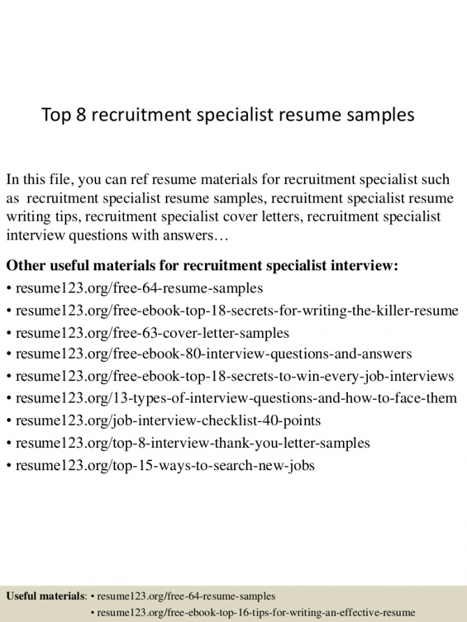 Top  Recruitment Specialist Resume Samples