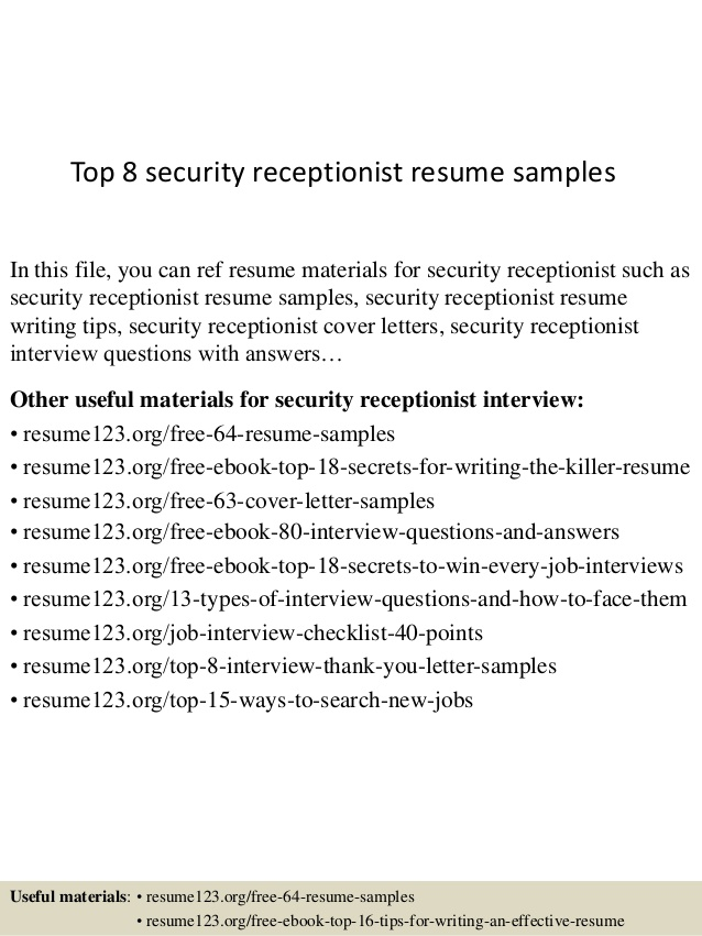 Top  Security Receptionist Resume Samples