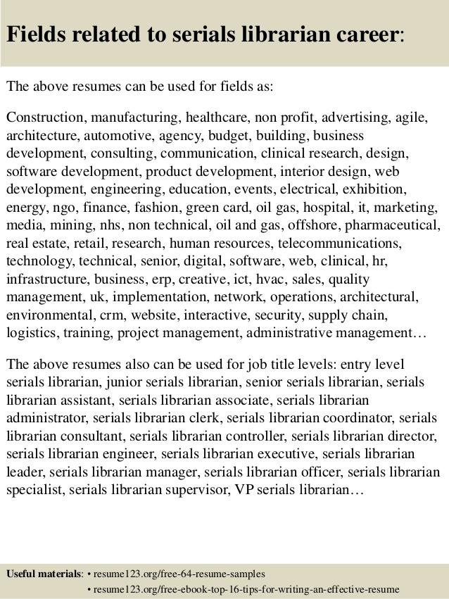 Top  Serials Librarian Resume Samples