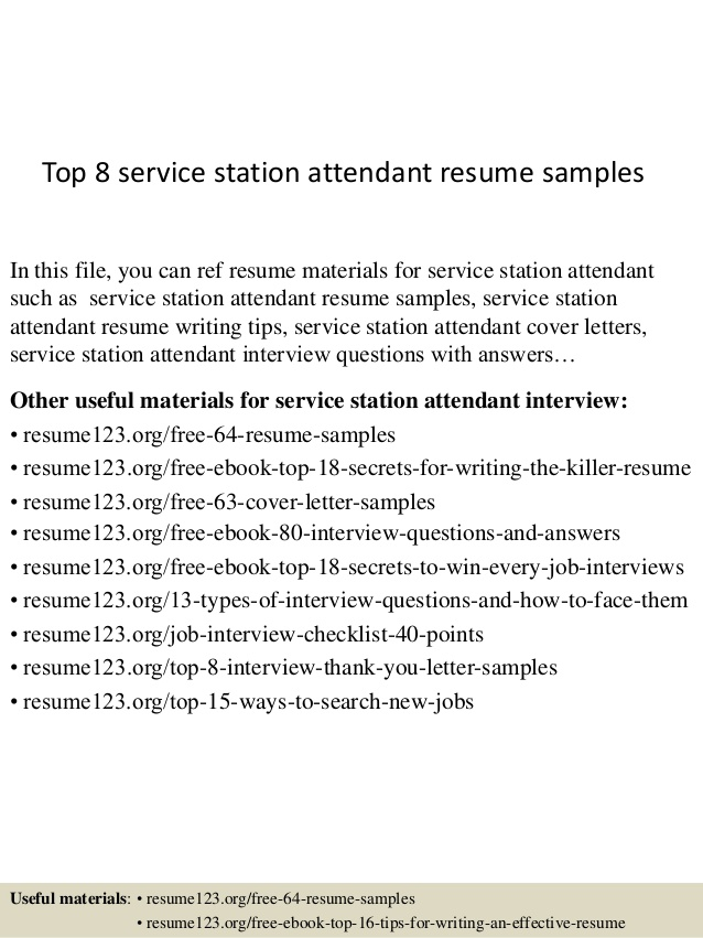Top  Service Station Attendant Resume Samples