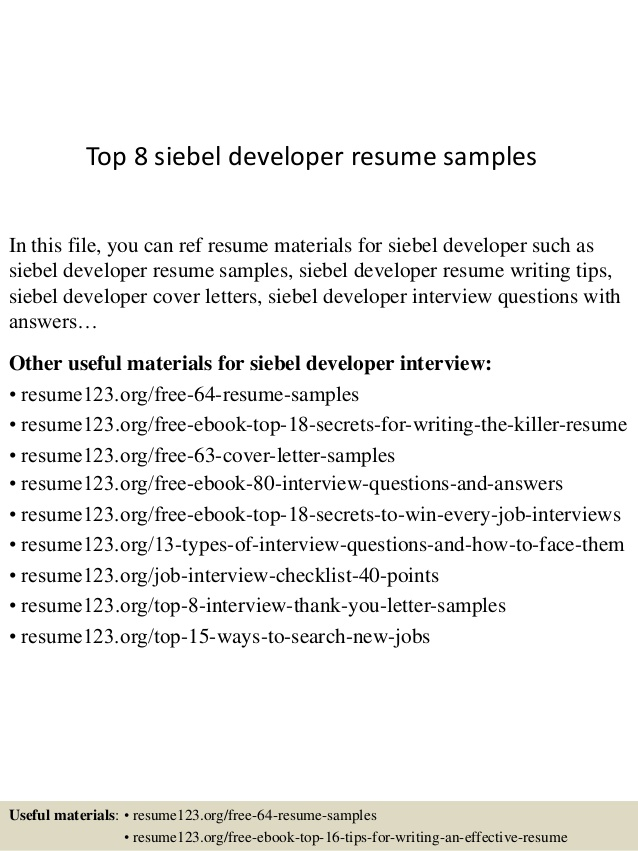 Top  Siebel Developer Resume Samples