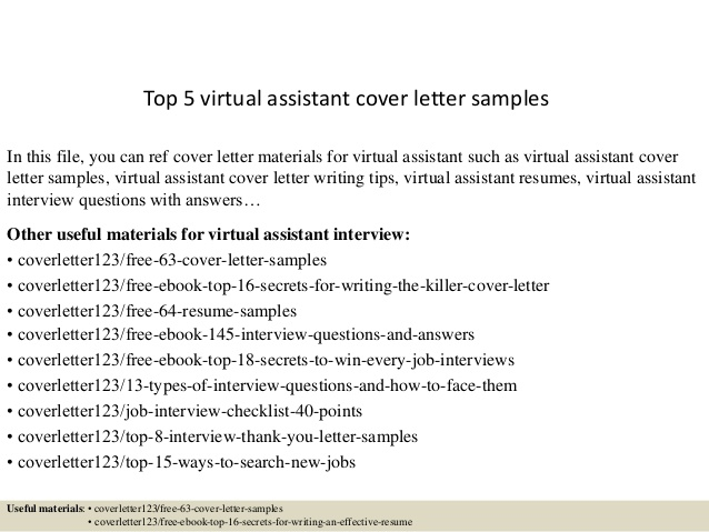 Top  Virtual Assistant Cover Letter Samples