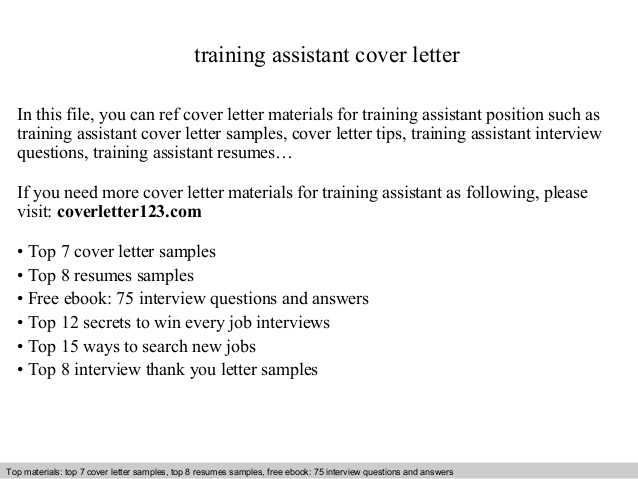 Training Assistant Cover Letter