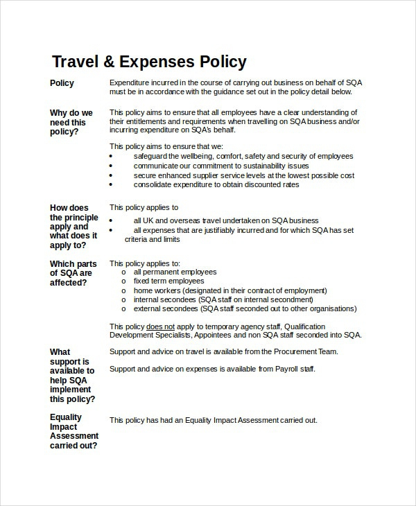 Travel And Expense Policy