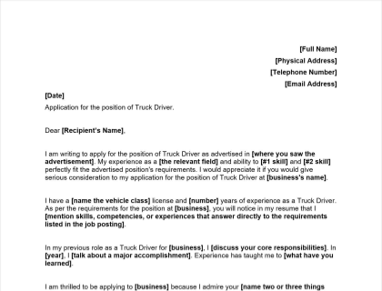 Truck Driver Cover Letter Includes Example   Template