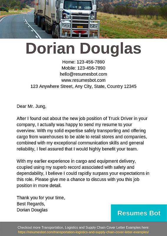 Truck Driver Cover Letter Samples   Templates Pdfword