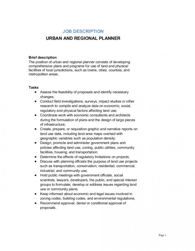 Urban And Regional Planner Job Description Template