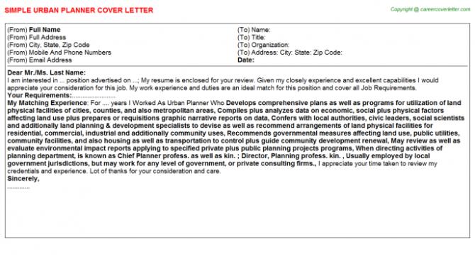 Urban Planner Cover Letter