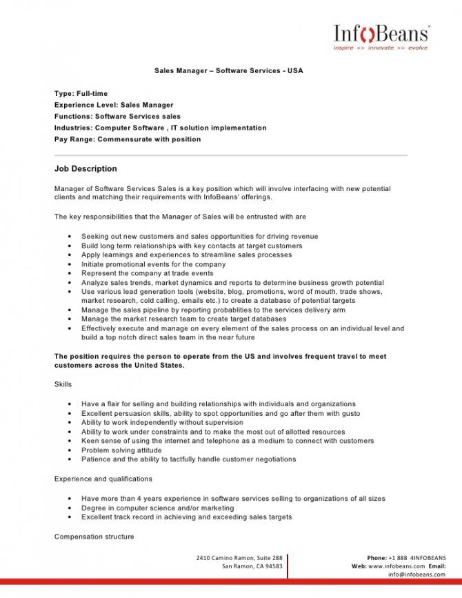 Us Sales Manager Job Description