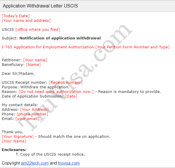 Uscis Sample Application Withdrawal Letter