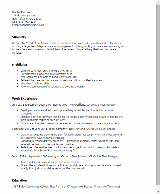 Vehicle Fleet Manager Resume Templates Try Them Now