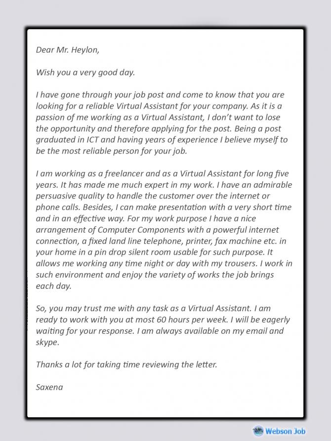 Virtual Assistant Cover Letter Best Sample For Va