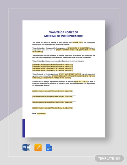 Waiver Of Notice Meeting Of Incorporators Template
