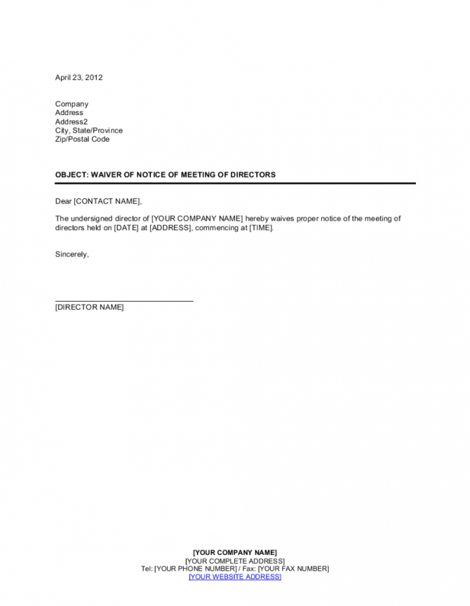 Waiver Of Notice Of Meeting Of Directors Template