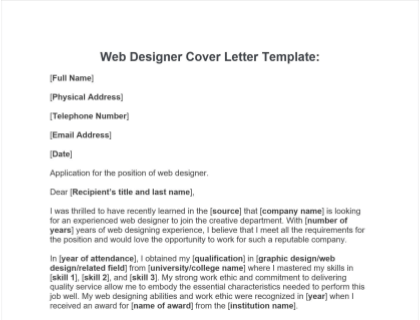 Web Designer Cover Letter Guide  Template