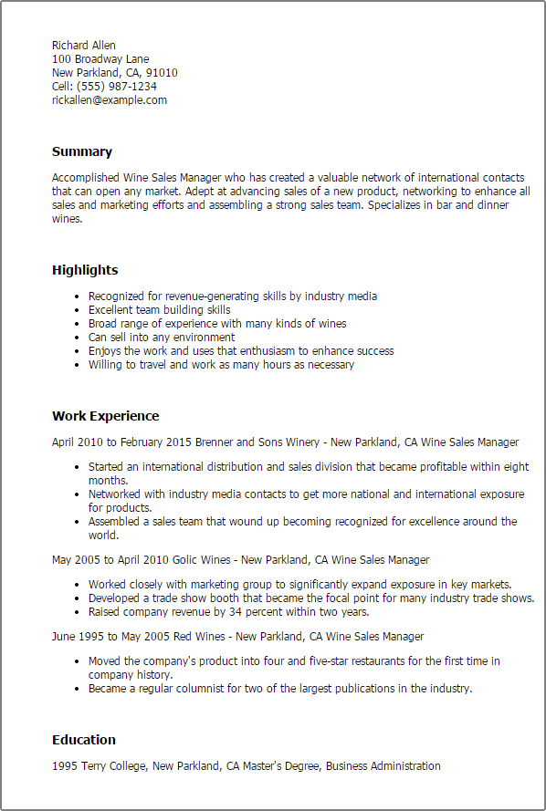 Wine Sales Manager Resume Template  Best Design   Tips