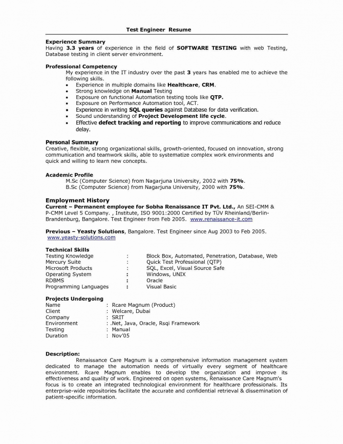 Years Testing Experience Resume Format